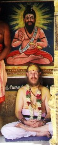 Marshall Govindan at the Boganathar samadhi shrine in Palani, Tamil Nadu