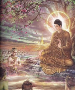 Buddha Teaching in Tushita